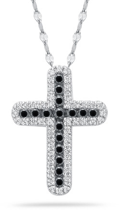 0.60 Carat Black and White Diamond Cross Pendant