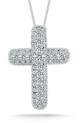 0.60 Carat Diamond Cross Pendant in 14K White Gold