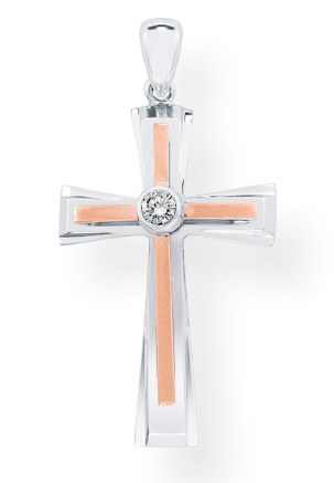 Men's Diamond Solitaire Cross Pendant in 14K Rose and White Gold