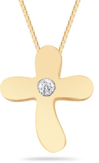Small Diamond Solitaire Cross Pendant in 14K Yellow Gold