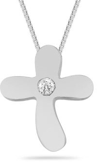 Small Diamond Solitaire Cross Pendant in 14K White Gold