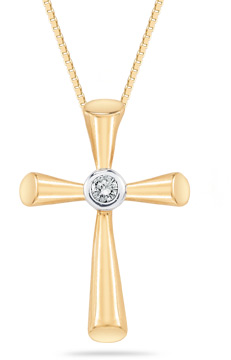 Diamond Solitaire Cross Pendant in 14K Yellow Gold