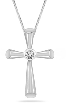 Diamond Solitaire Cross Pendant in 14K White Gold