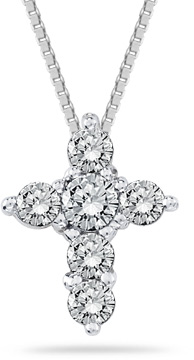 1/2 Carat Diamond Cross Pendant in 14K White Gold