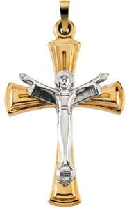 Praise Him Crucifix Pendant in Two-tone 14K Gold