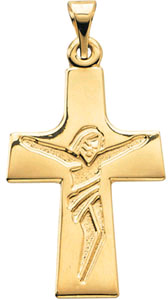 Modern Design Crucifix Pendant in 14K Yellow Gold