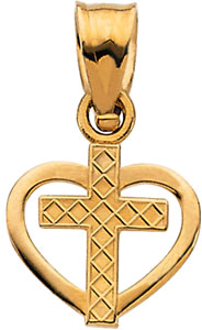Cross and Heart Pendant in 14K Yellow Gold