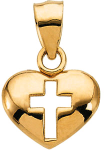 14K Yellow Gold Heart and Cross Pendant
