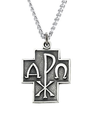 Alpha and Omega Chi-Ro Cross Pendant in Sterling Silver