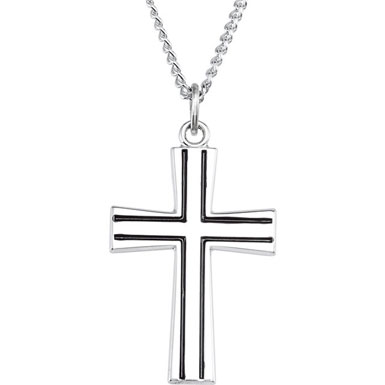 Sterling Silver Black Engraved Cross Pendant