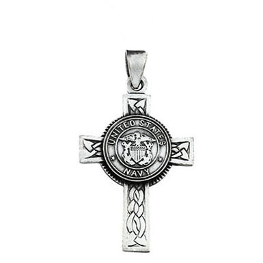 US Navy Cross Pendant in Sterling Silver