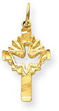 14K Gold Cut-Out Holy Spirit Dove Cross Pendant
