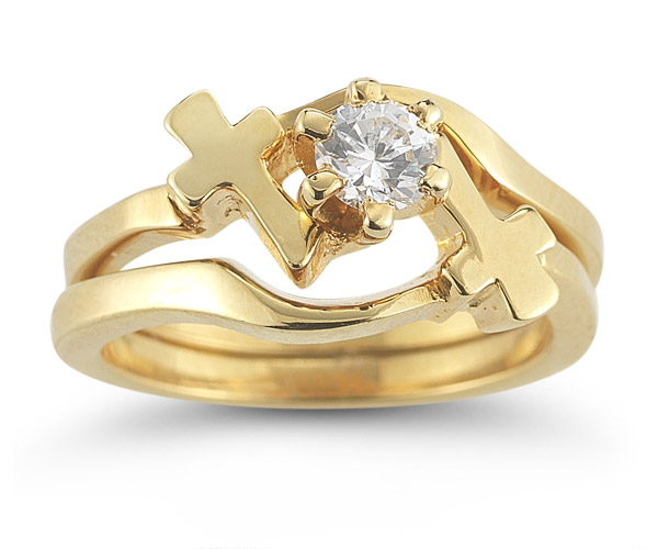 CZ Cross Engagement and Wedding Ring Set in 14K Yellow Gold