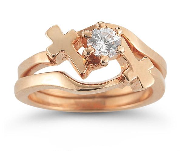 Diamond Cross Wedding Ring Bridal Set in 14K Rose Gold