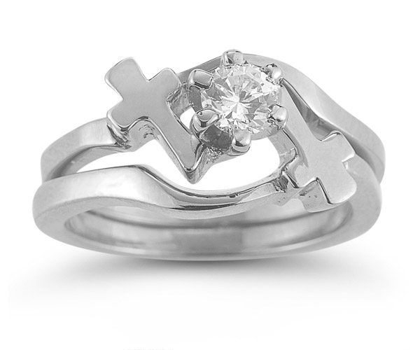 Diamond Cross Engagement and Wedding Ring Bridal Set in 14K White Gold