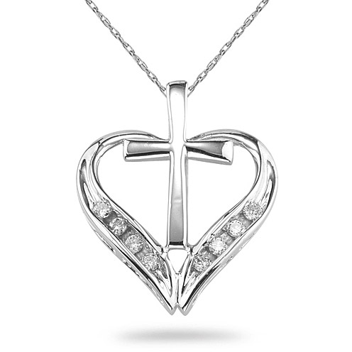 Cross and Heart Diamond Pendant, 14K White Gold