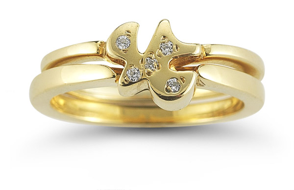 Holy Spirit Dove CZ Engagement Ring Set in 14K Yellow Gold