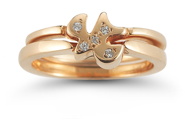 Holy Spirit Dove Cubic Zirconia Engagement Ring Set in 14K Rose Gold