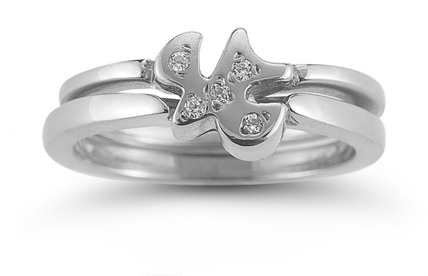 Holy Spirit Dove Diamond Engagement Ring Set in 14K White Gold
