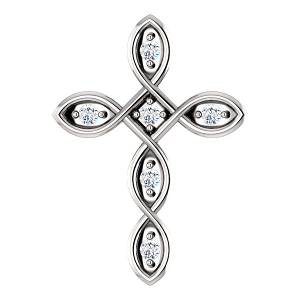 Diamond Infinity Cross Necklace Pendant, 14K White Gold