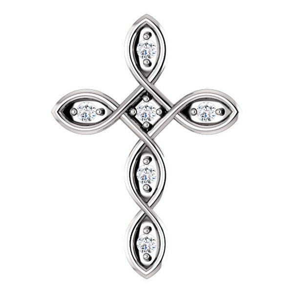 Diamond Infinity Cross Necklace Pendant, 14K White Gold