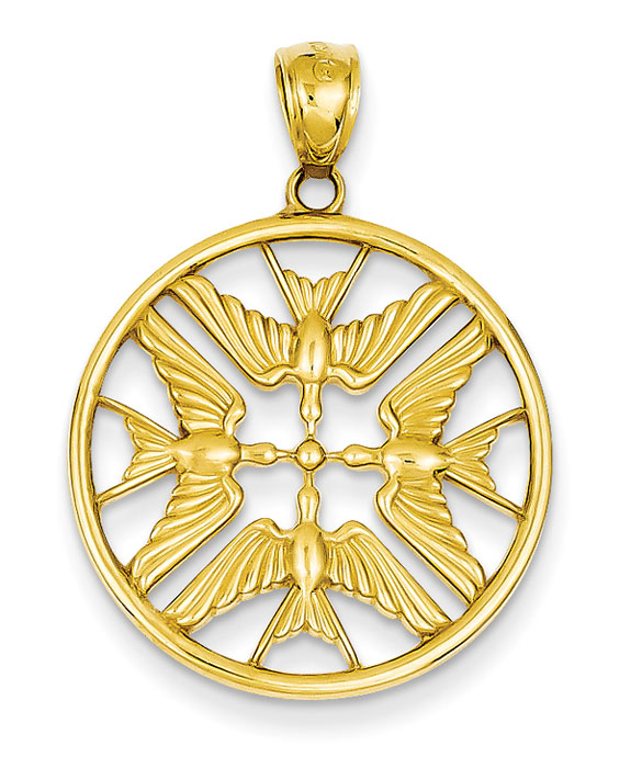 Four Doves Holy Spirit Pendant Necklace in 14K Gold