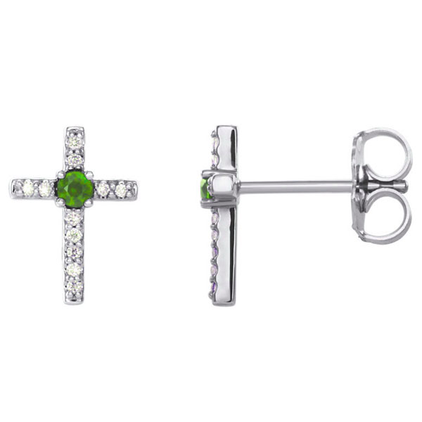 Emerald and Diamond Cross Stud Earrings, 14K White Gold