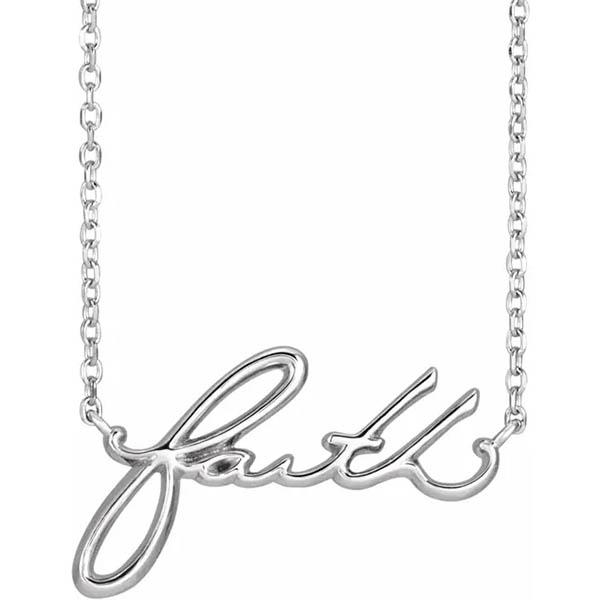 Faith Necklace, 14K White Gold