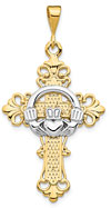Fleur-de-Lis Claddagh Cross Pendant Necklace, 14K Two-Tone Gold