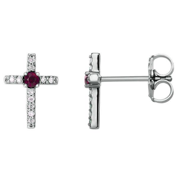 Garnet and Diamond Cross Stud Earrings, 14K White Gold