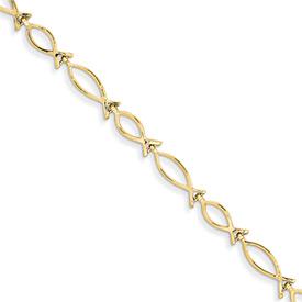 Ichthus Bracelet, 14K Gold