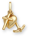 14K Gold Cross Heart & Anchor Pendant