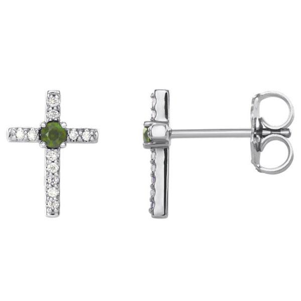 Green Peridot and Diamond Cross Stud Earrings, 14K White Gold