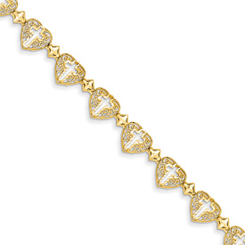 Filigree Cross Heart Bracelet, 14K Gold