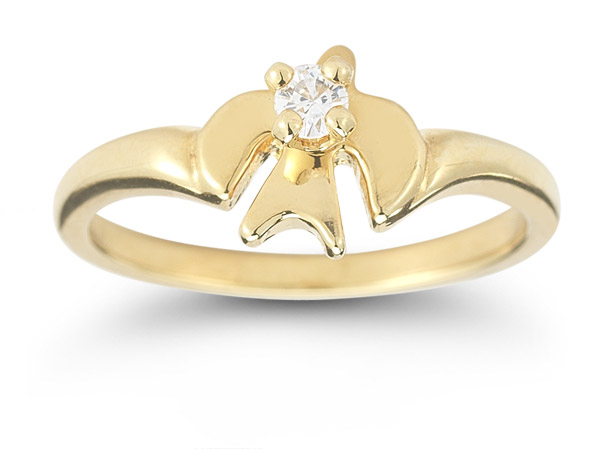 Holy Spirit Dove Diamond Ring in 14K Yellow Gold