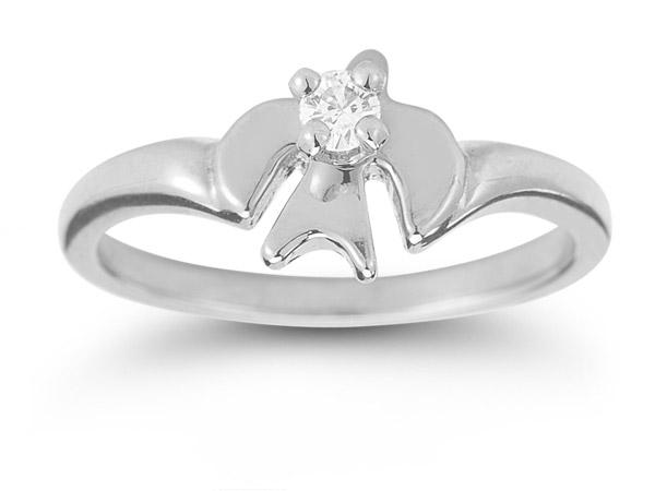 Holy Spirit Dove White Topaz Ring in Sterling Silver
