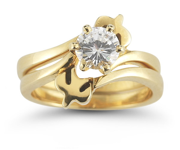 Holy Spirit Dove CZ Engagement Ring Set, 14K Gold