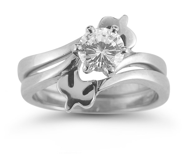 Holy Spirit Dove Diamond Bridal Engagement Ring Set