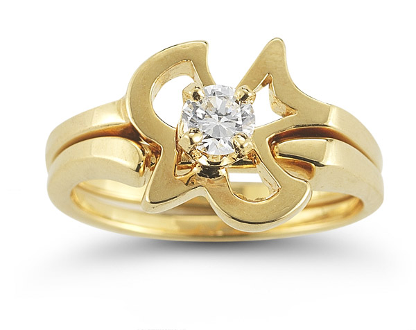 Christian Dove Diamond Engagement and Wedding Ring Set in 14K Yellow Gold
