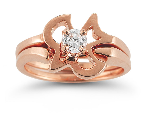 Christian Dove Diamond Engagement and Wedding Ring Set in 14K Rose Gold