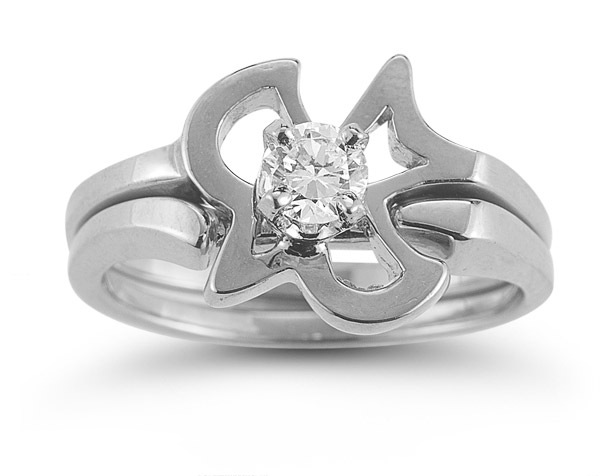 Christian Dove CZ Engagement Bridal Wedding Ring Set in 14K White Gold