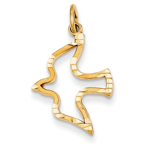 Holy Spirit Dove Pendant in 14K Yellow Gold