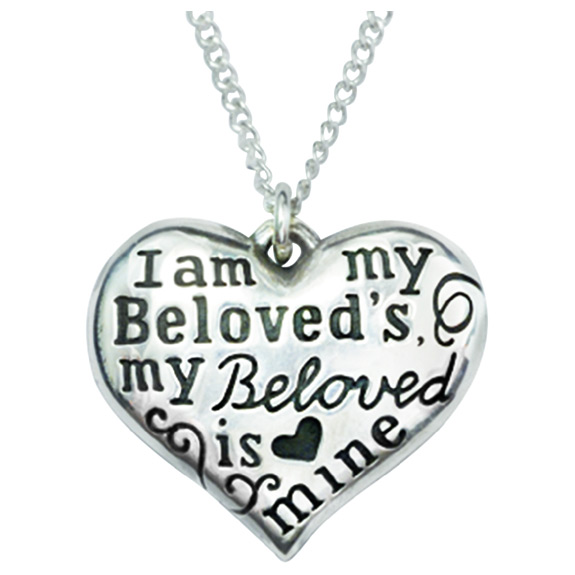 I Am My Beloved's Heart Necklace in Sterling Silver