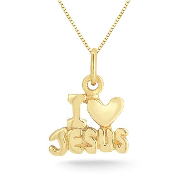 I Love Jesus Heart Pendant, 14K Yellow Gold