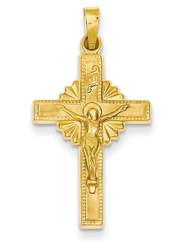 INRI Design Crucifix Necklace in 14K Gold