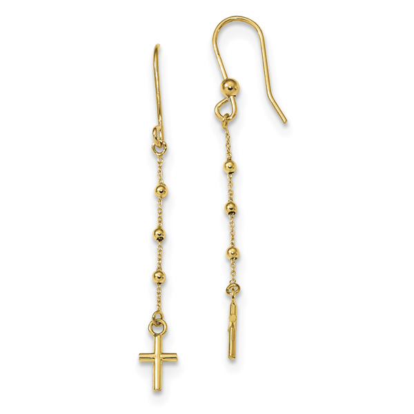 Italian Cross Dangle Shepherd Hook Earrings, 14K Gold