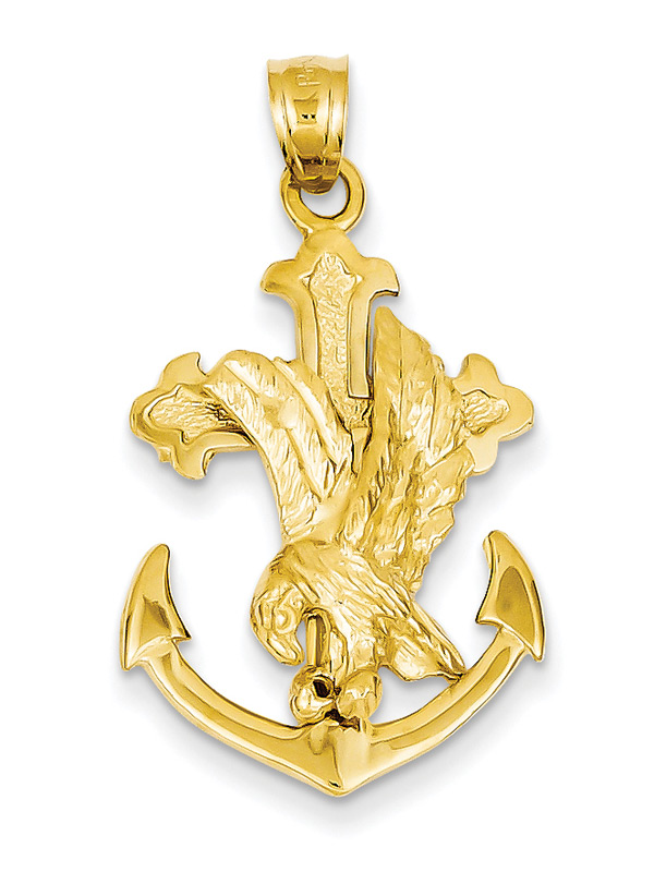 Mariner Anchor Cross with Eagle in 14K Gold
