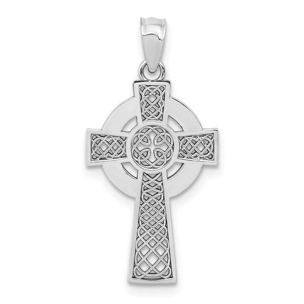 Medium 14K White Gold Celtic Cross Pendant