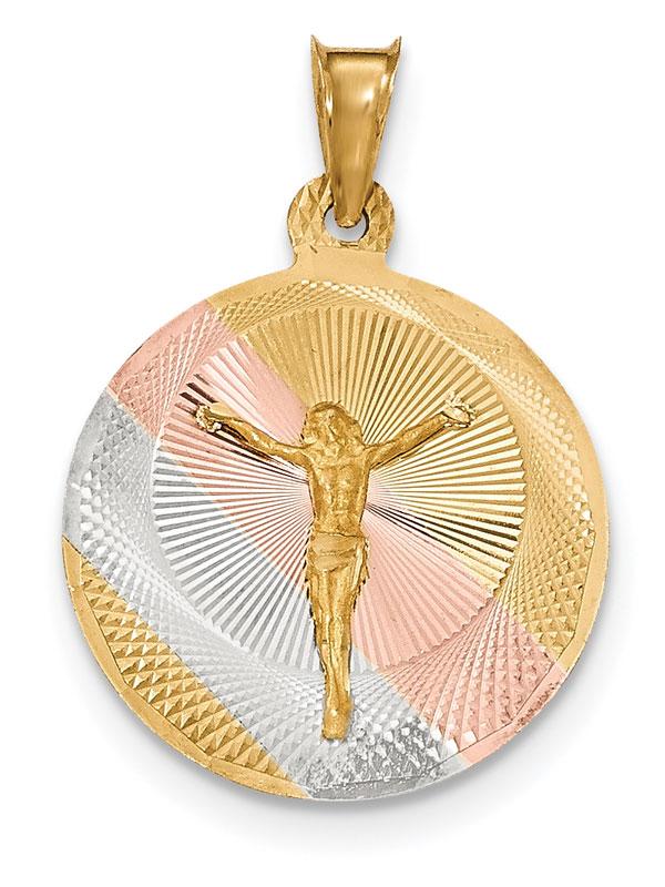 Men's 14K Gold Tri-Color Corpus Christ Medallion Necklace