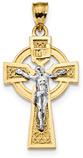 Men's Celtic Crucifix Necklace, 14K Two-Tone Gold